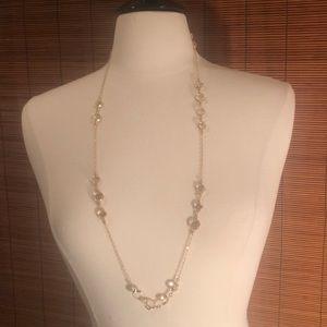 J. Crew gold & crystal layering necklace